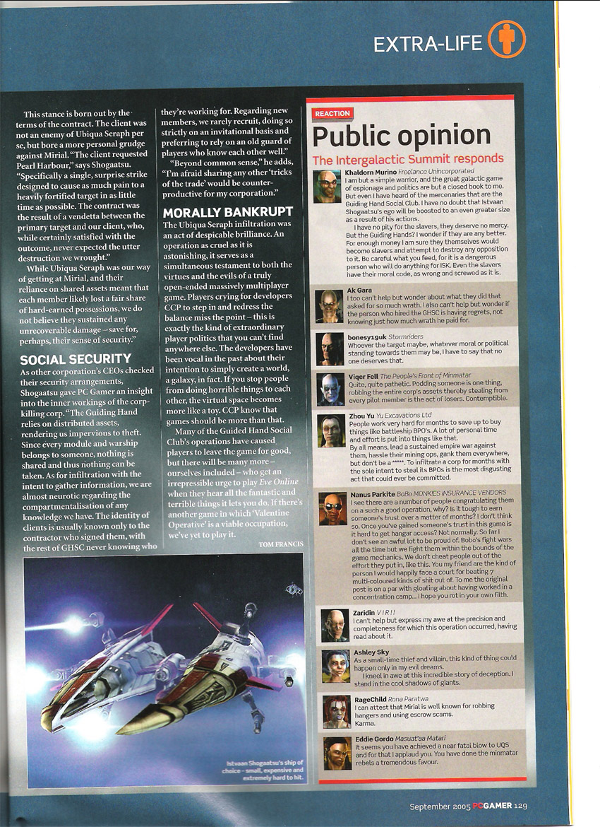 Eve September 2005 PC Gamer Scans