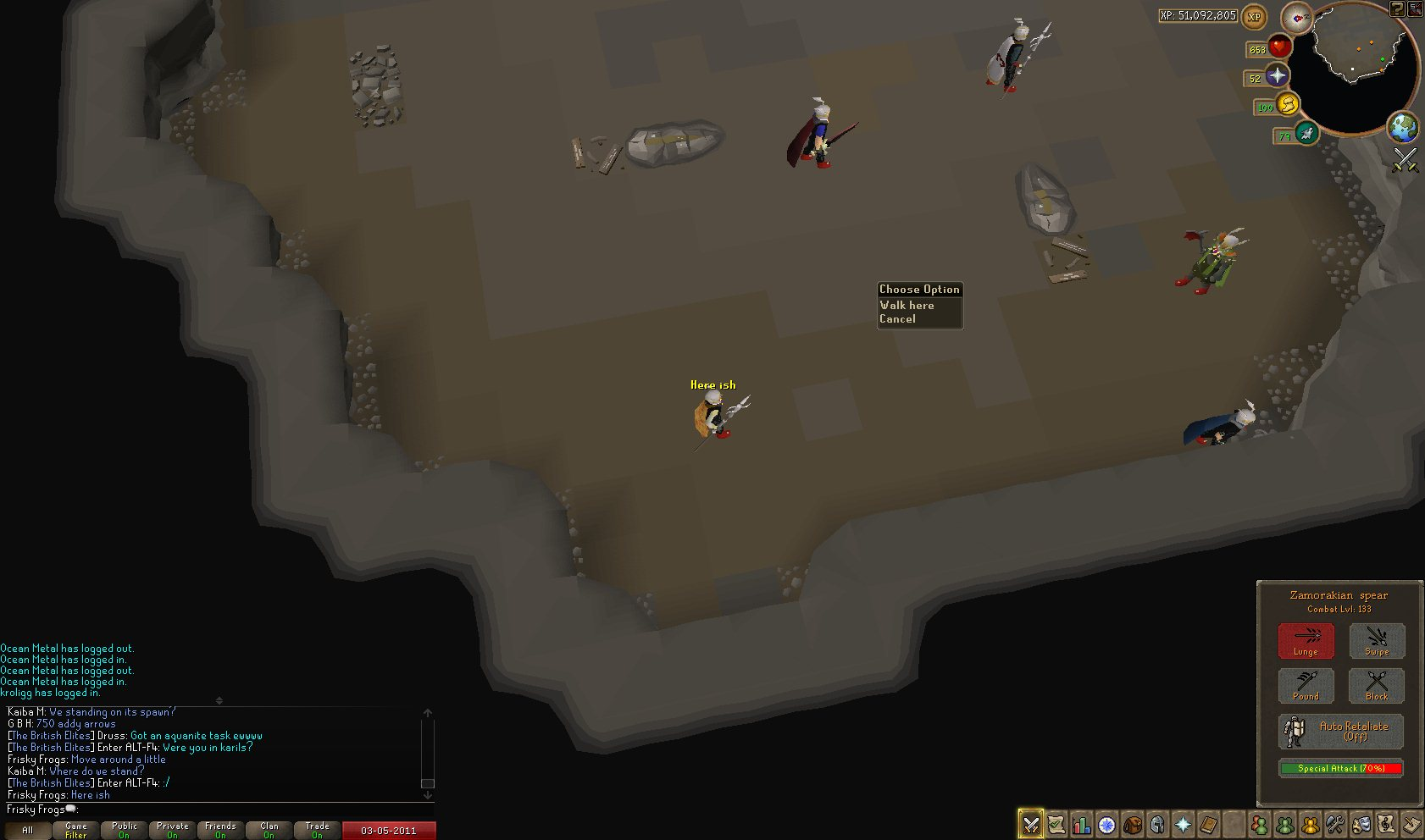 Form a circle/box around corp's spawn point