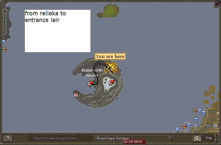 Dagannoth Kings route to cave on waterbirth island