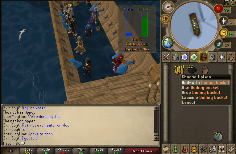 Bailing out with bailing bucket at fishing trawler