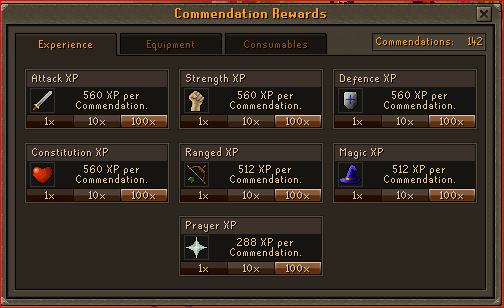 Void Knight Pest Control Rewards - xp on combat stats