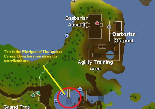 Location of the whirlpool leading to waterfiends