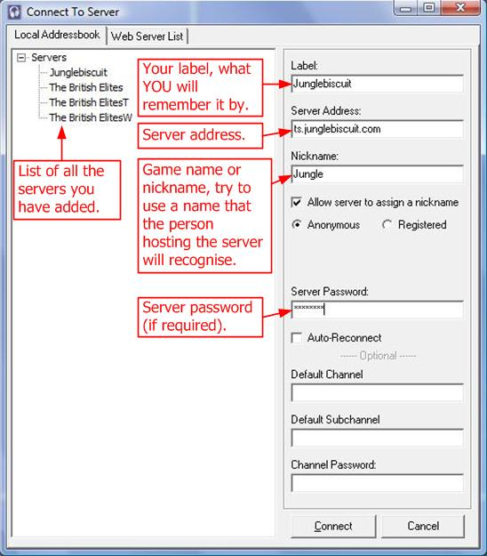 How To Fill Out The Teamspeak 2 Connect Screen