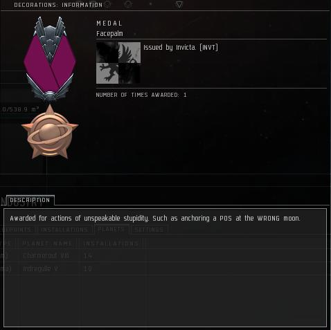 Eve Medal Decoration Award Example - Facepalm
