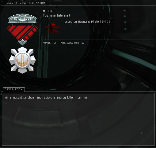 Eve Medal Decoration Award Example - Kill a Carebear