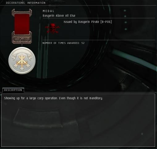 Eve Medal Decoration Award Example - Showing For a Large Corp Op