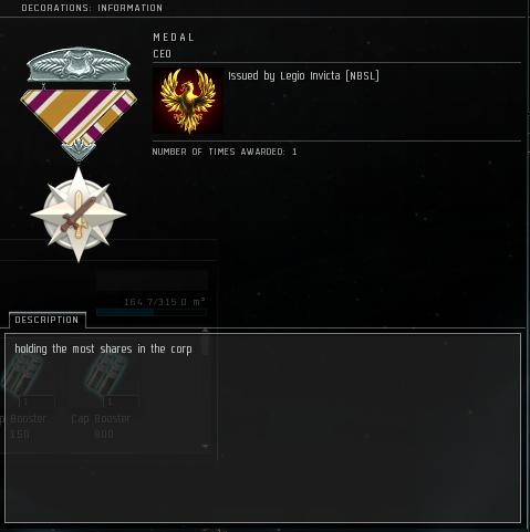 Eve Medal Decoration Award Example - Holding The Most Shares