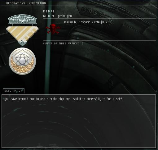 Eve Medal Decoration Award Example - Probe Ship