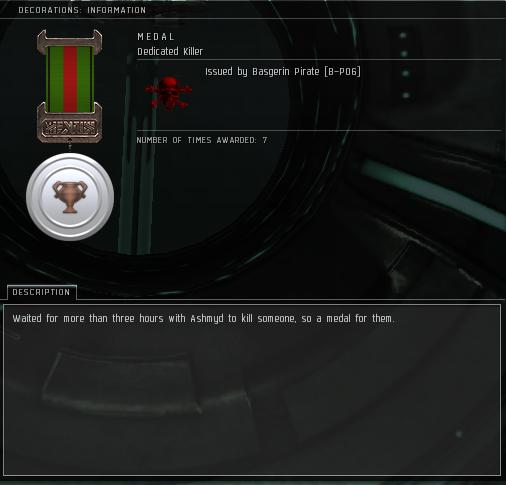 Eve Medal Decoration Award Example - Three Hour Wait For a Kill