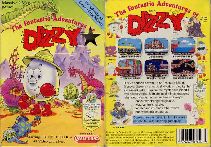 Classic Games - The Fantastic Adventures of Dizzy Game Tape Cassette Cover