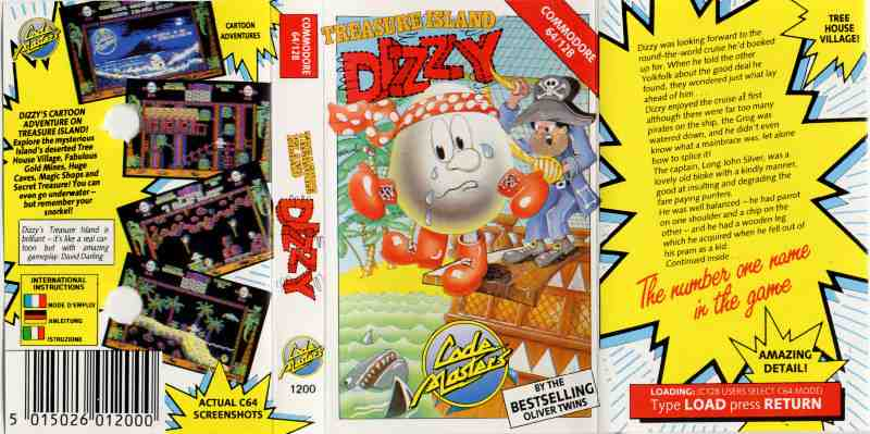 Classic Games - Treasure Island Dizzy - Cassette Tape Cover
