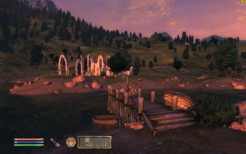 Oblivion Screenshot - Looking at Some Ruins Over The Bridge