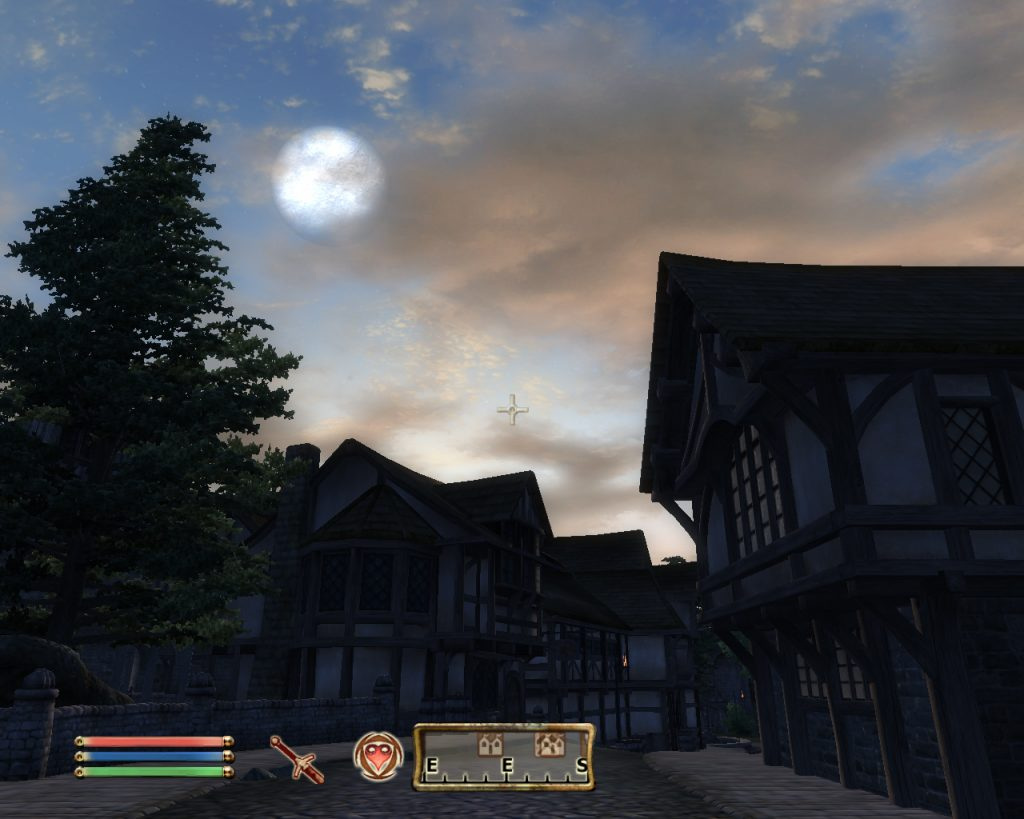Oblivion Screenshot - In The Town Looking At The Moon