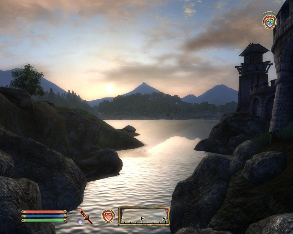 Oblivion Screenshot - Sun Set Over The Lake