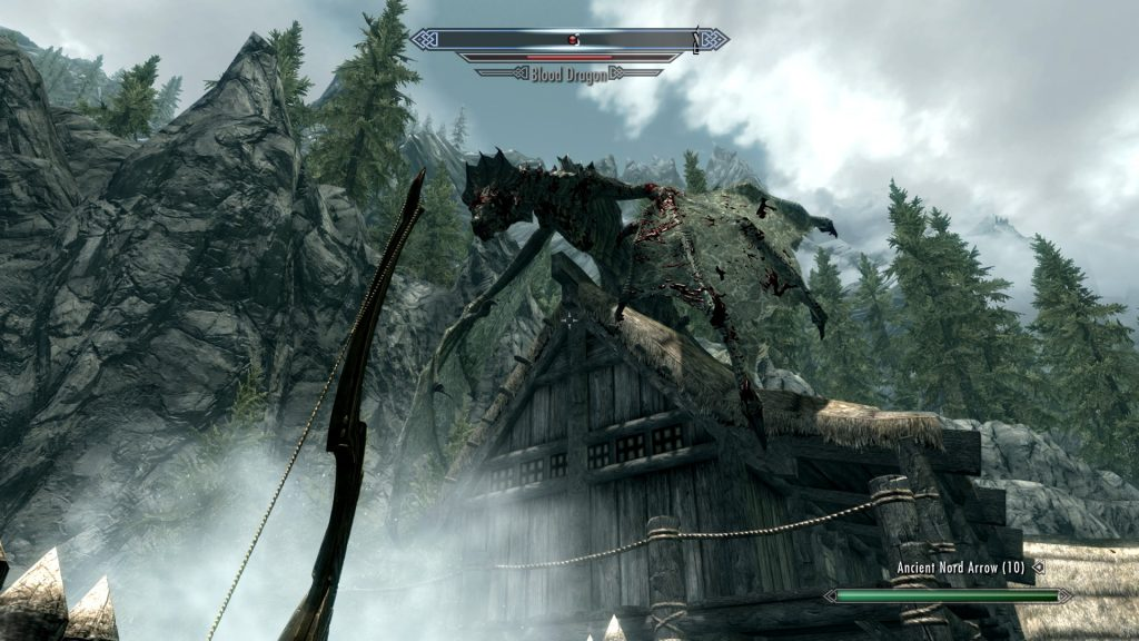Skyrim Screenshot Blood Dragon on a Building