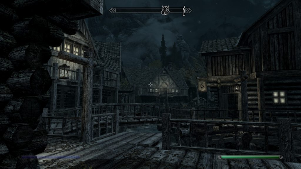 Skyrim Screenshot Town at Night
