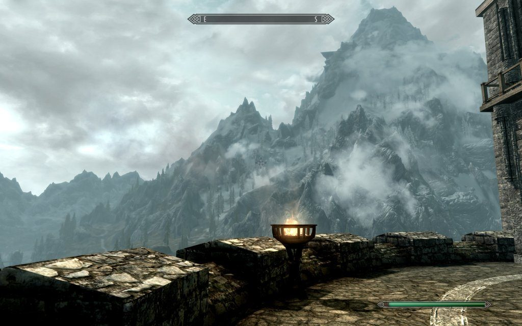 Skyrim Screenshot A View of the Mountains from the Keep