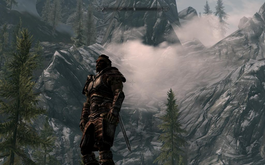 Skyrim Screenshot Posing by the Mountain