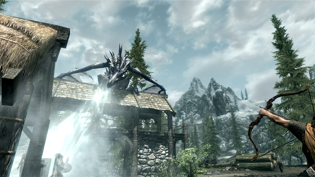 Skyrim Screenshot Dragon Ice Breath