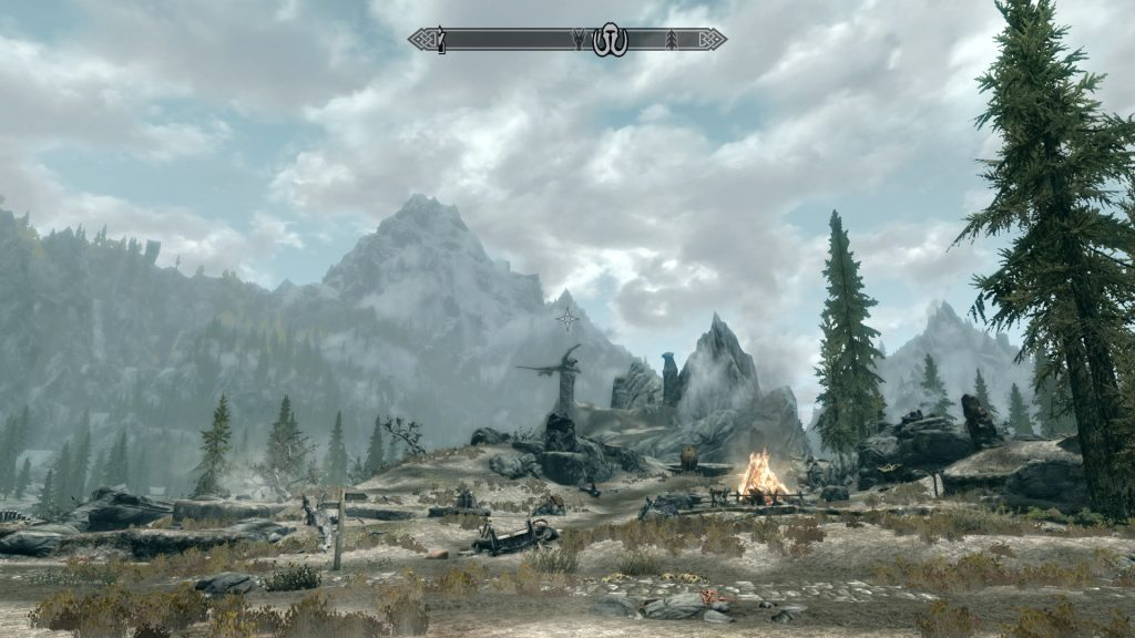 Skyrim Screenshot Open World Campsite