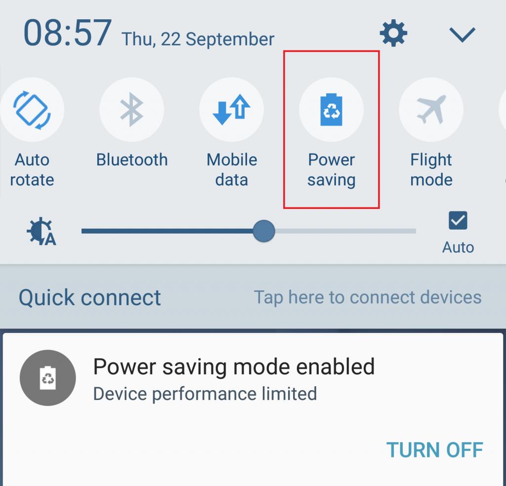 Samsung Galaxy S6 Power Saving Mode Button Menu