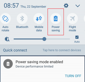 Samsung Galaxy S6 Power Saving Mode Button Menu