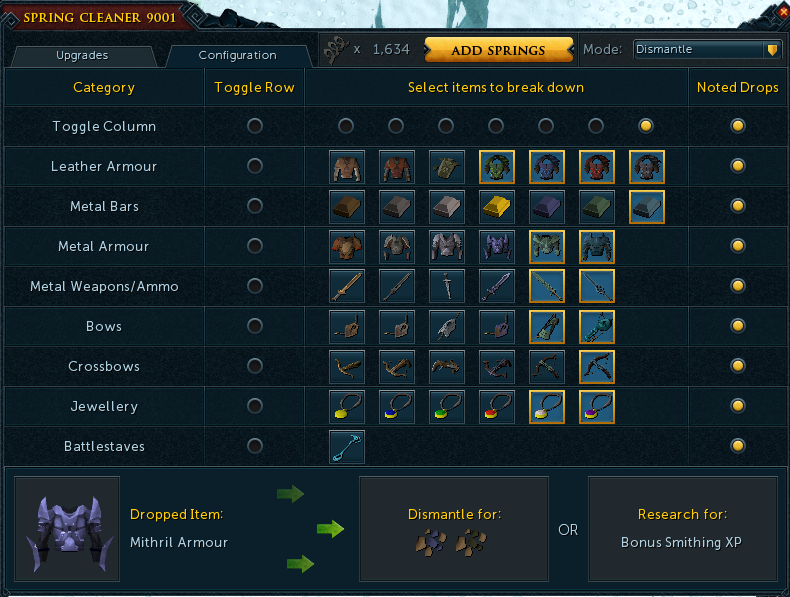 Runescape Spring Cleaner Configuration Settings