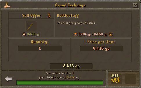 Runescape - Selling battlestaffs on the grand exchange
