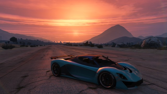 GTA V (GTA 5) Screenshots - Grand Senora Desert Sunset Plus Car