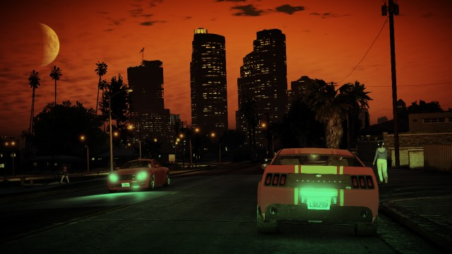 GTA V (GTA 5) Screenshots - Mirror Park boulevard - View At Night
