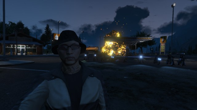 GTA V (GTA 5) Screenshots - Paleto Bay - Fireball Explosion At Night