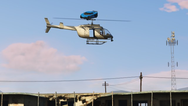 GTA V (GTA 5) Screenshots - Sandy Shores - Car Jumping The Helicopter