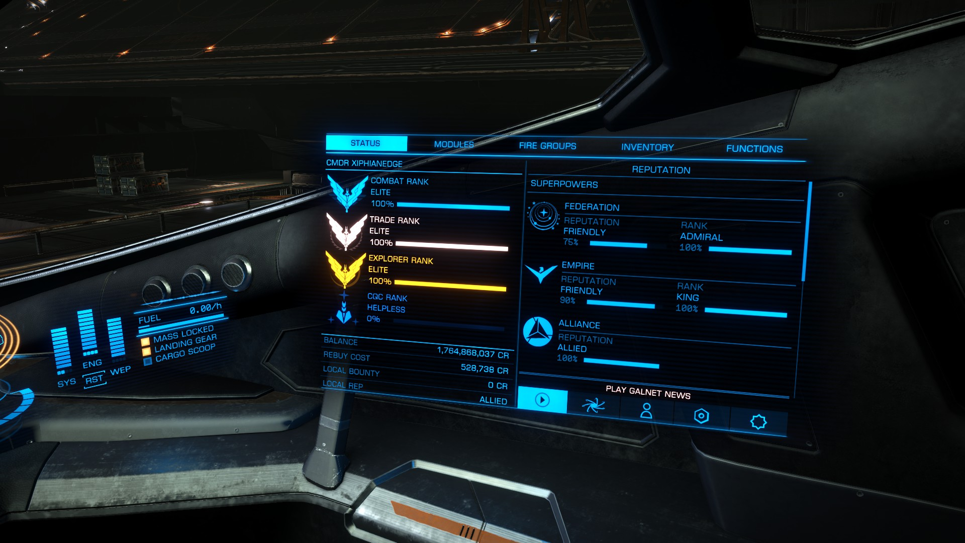 Elite Dangerous Screenshots - Ship Menu With Full Elite Rank
