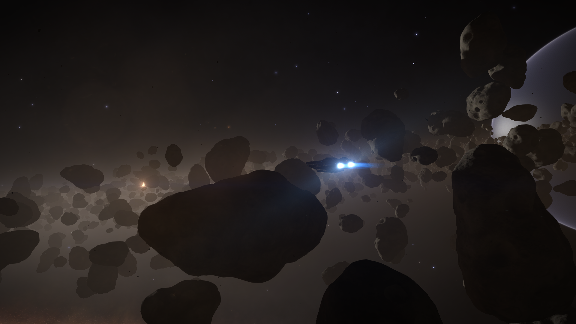 Elite Dangerous Screenshots - Flying Through The Asteroid Belt