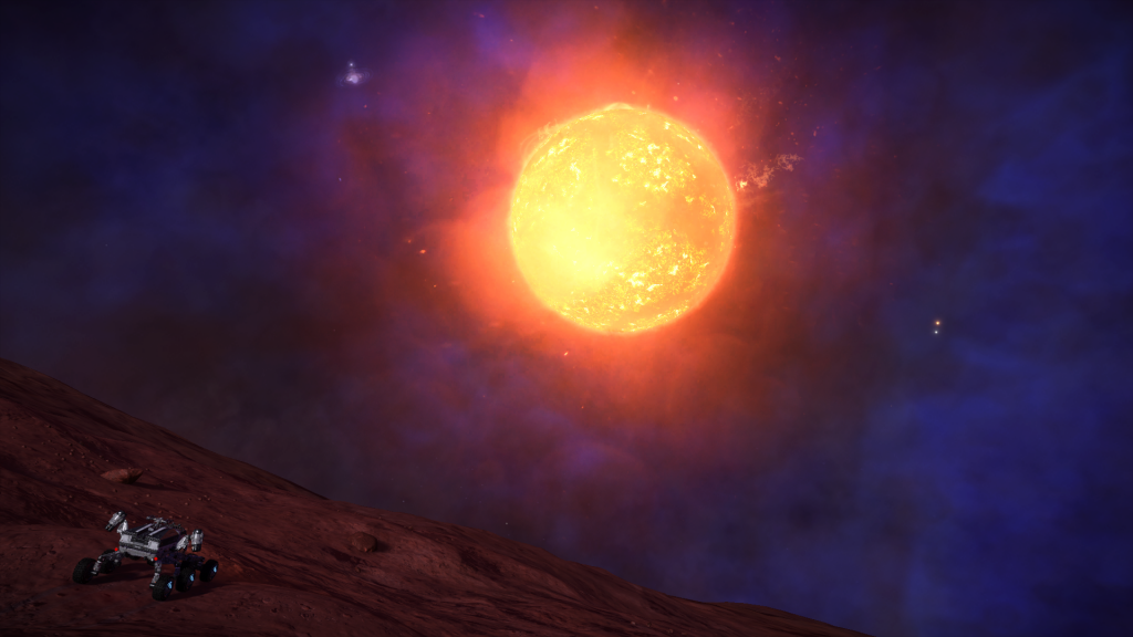 Elite Dangerous Screenshots - Planet Exploration With A Star In The Background