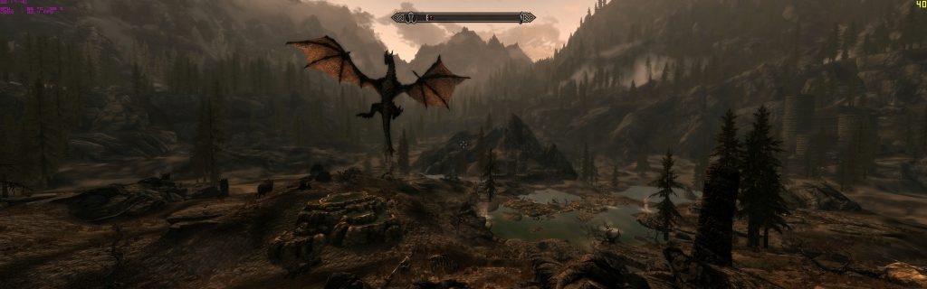 Skyrim Screenshot Dragon Landing and Flying