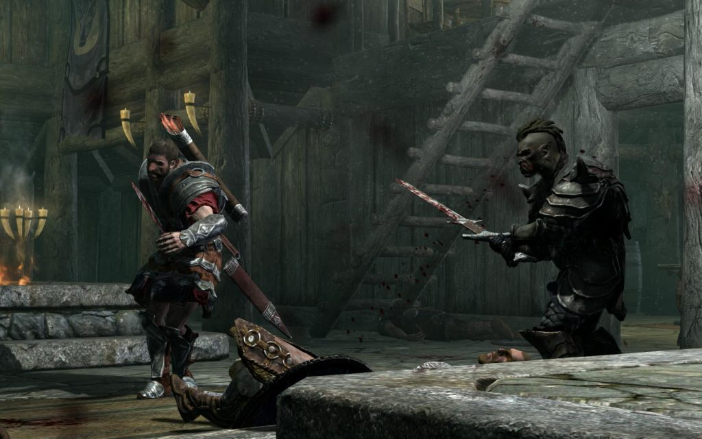 Skyrim Screenshot Fighting Against Bandits