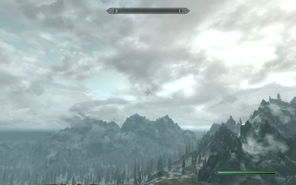 Skyrim Screenshot Mountain View Cloudy Bright Sky