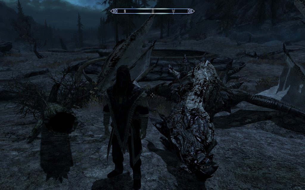 Skyrim Screenshot Inspecting The Fallen Dragon