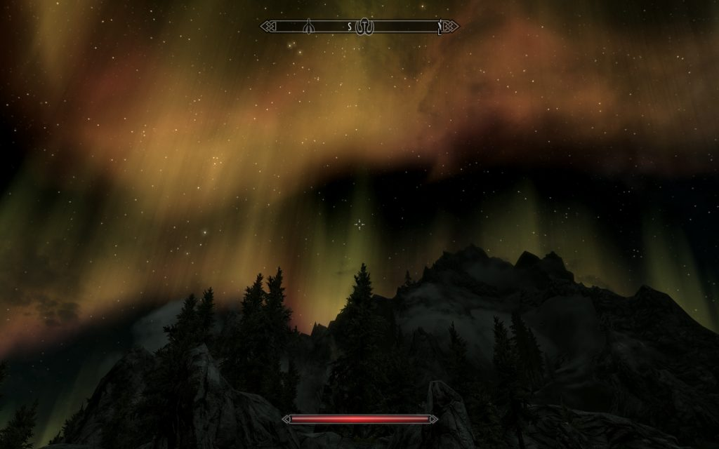 Skyrim Screenshot Skybox Aurora Borealis Night Sky