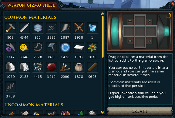 Runescape Adding Materials To a Gizmo Shell