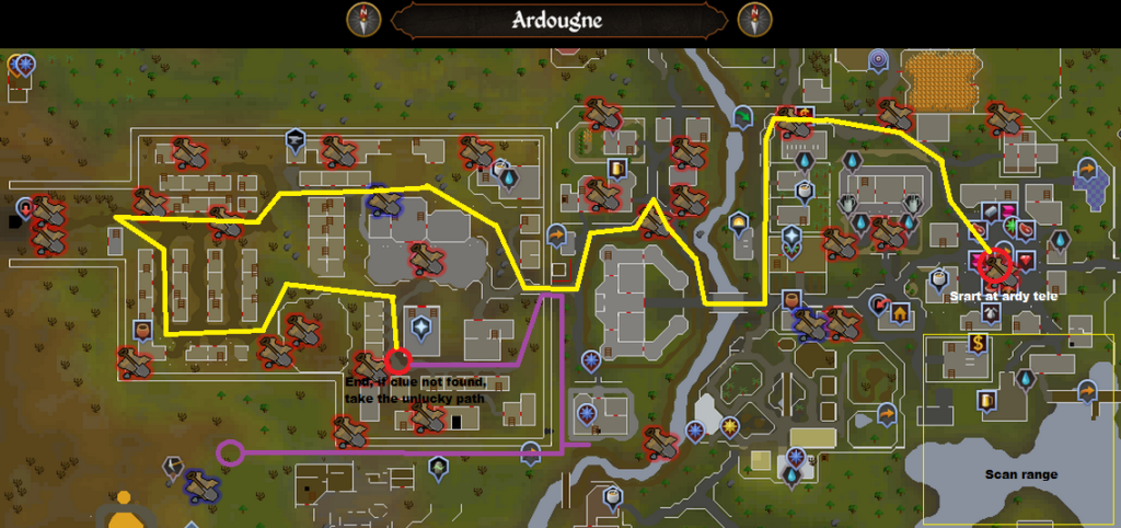 Runescape - Ardougne - Elite Clue Scan Route
