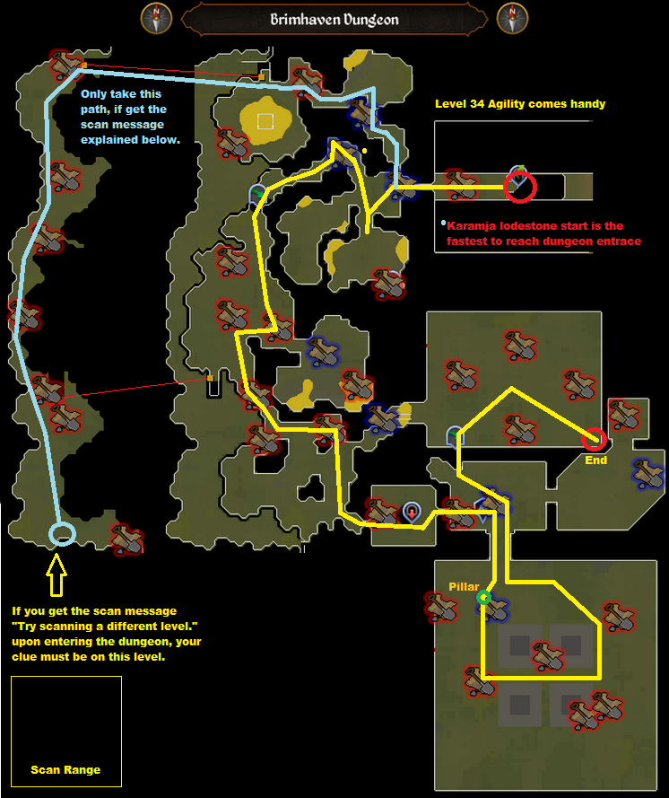Runescape - Brimhaven Dungeon - Elite Clue Scan Route