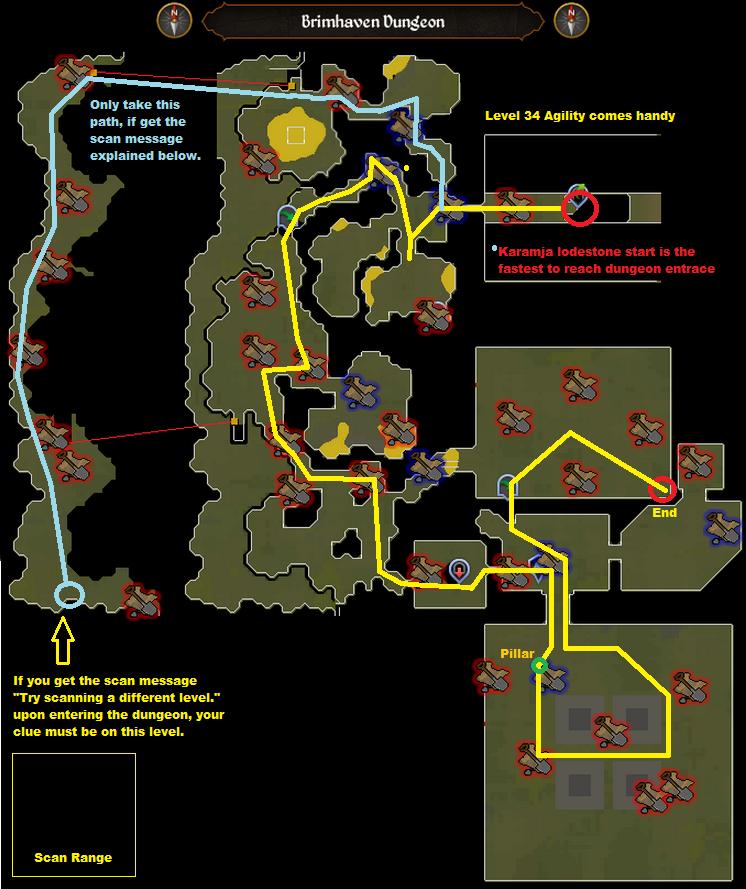 Runescape - Brimhaven Dungeon - Elite Clue Scan Route