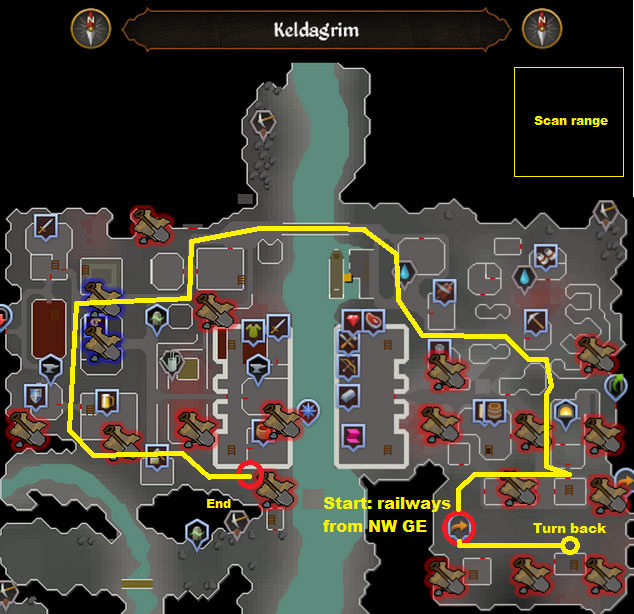 Runescape - Keldagrim - Elite Clue Scan Route