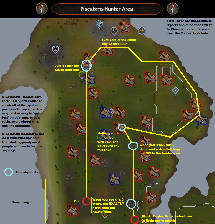 Runescape - Piscatoris Hunter Area - Elite Clue Scan Route