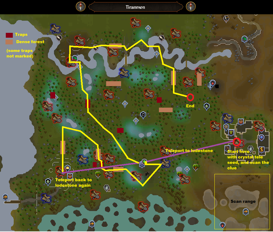 Runescape - Tirannwn Elf Lands - Elite Clue Scan Route