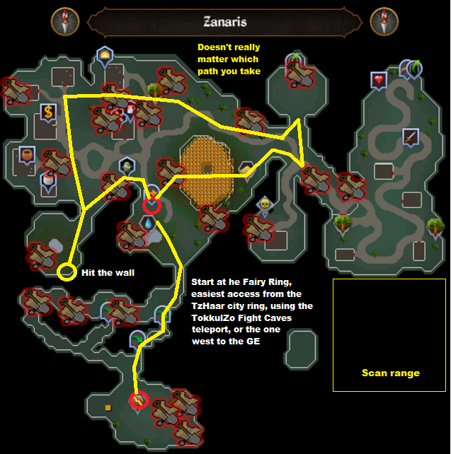 Runescape - Zanaris - Elite Clue Scan Route